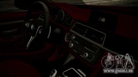 BMW M4 Coupe 2015 Walnut Wood für GTA San Andreas rechten Ansicht