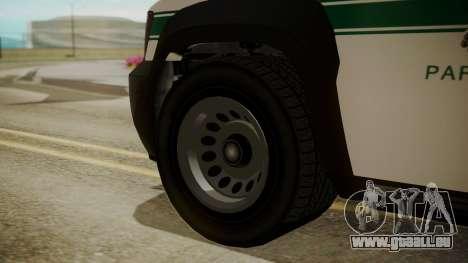 GTA 5 Declasse Granger Park Ranger für GTA San Andreas zurück linke Ansicht
