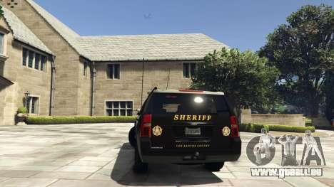 GTA 5 Chevrolet Suburban Sheriff 2015 arrière vue latérale gauche