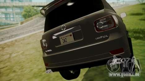 Nissan Patrol IMPUL 2014 pour GTA San Andreas vue arrière