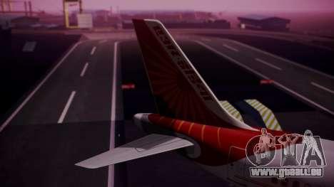 Airbus A319-100 Air India pour GTA San Andreas sur la vue arrière gauche