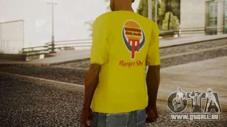 Burger Shot T-shirt Yellow pour GTA San Andreas troisième écran