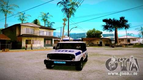 UAZ-chasseur Service PPP pour GTA San Andreas sur la vue arrière gauche