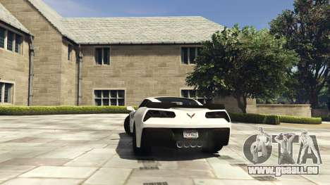 GTA 5 Chevrolet Corvette C7 Z06 arrière vue latérale gauche