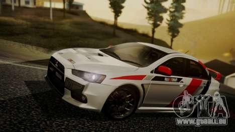 Mitsubishi Lancer Evolution X 2015 Final Edition für GTA San Andreas Unteransicht