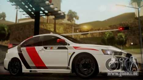 Mitsubishi Lancer Evolution X 2015 Final Edition pour GTA San Andreas vue de droite