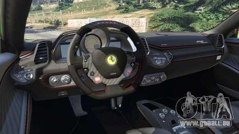 GTA 5 Ferrari 458 Italia 2009 v1.6 arrière droit vue de côté