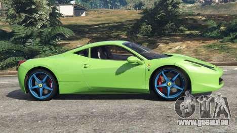 GTA 5 Ferrari 458 Italia 2009 v1.6 vue latérale gauche