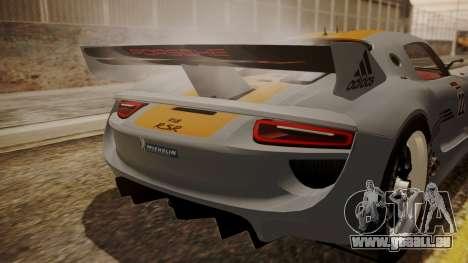 Porsche 918 RSR für GTA San Andreas Rückansicht