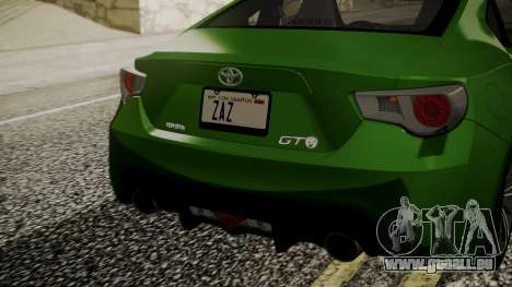 Toyota GT86 2012 pour GTA San Andreas vue arrière