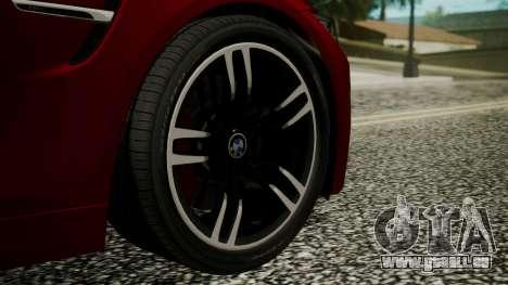 BMW M4 Coupe 2015 Walnut Wood für GTA San Andreas zurück linke Ansicht