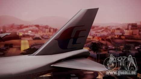 Boeing 747-200 Malaysia Airlines pour GTA San Andreas sur la vue arrière gauche