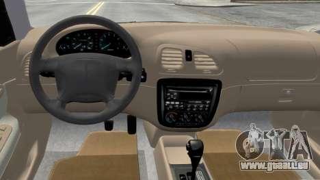 Daewoo Nubira I Sedan SX USA 1999 pour GTA 4 est une vue de l'intérieur