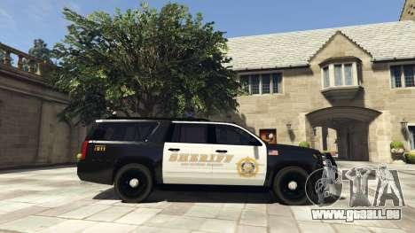 GTA 5 Chevrolet Suburban Sheriff 2015 vue latérale gauche