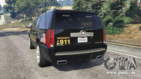 GTA 5 Cadillac Escalade ESV 2012 Police hinten links Seitenansicht