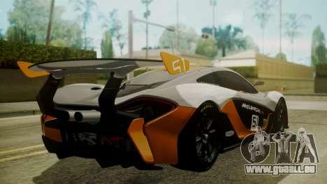 McLaren P1 GTR 2015 pour GTA San Andreas laissé vue