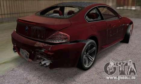 BMW M6 E63 pour GTA San Andreas vue intérieure