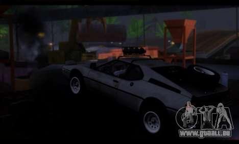 BMW M1 E26 Rusty Rebel pour GTA San Andreas sur la vue arrière gauche