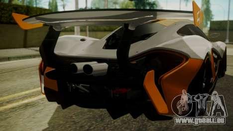 McLaren P1 GTR 2015 für GTA San Andreas Innenansicht