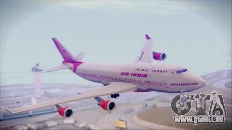 Boeing 747-437 Air India Tanjore Old Skin pour GTA San Andreas sur la vue arrière gauche