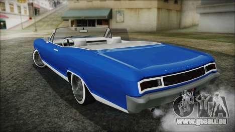 GTA 5 Albany Buccaneer Hydra Version pour GTA San Andreas sur la vue arrière gauche