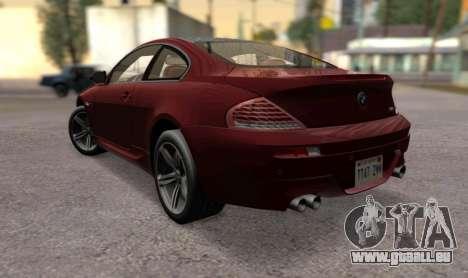 BMW M6 E63 pour GTA San Andreas laissé vue