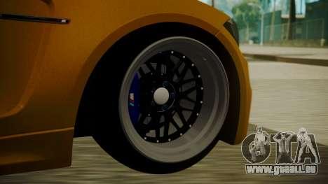 BMW 1M E82 without Sunroof pour GTA San Andreas sur la vue arrière gauche