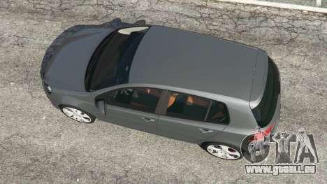 GTA 5 Volkswagen Golf Mk6 v2.0 vue arrière