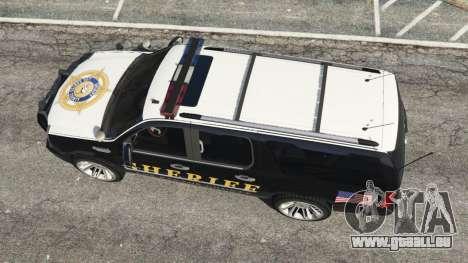 GTA 5 Cadillac Escalade ESV 2012 Police Rückansicht
