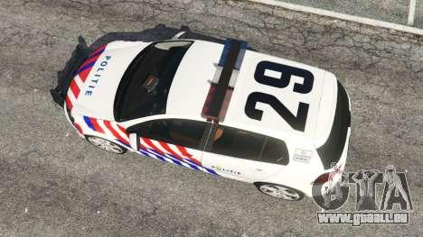 GTA 5 Volkswagen Golf Mk6 Dutch Police vue arrière