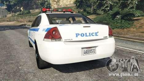 GTA 5 Chevrolet Impala NYPD arrière vue latérale gauche