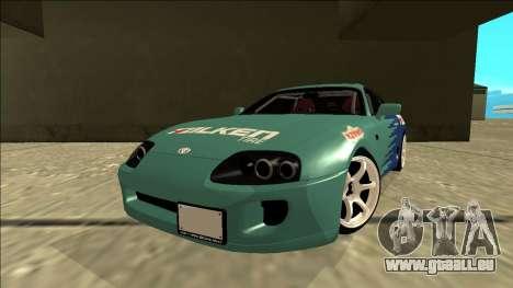 Toyota Supra Falken Drift pour GTA San Andreas sur la vue arrière gauche