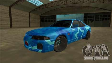 Nissan Skyline R33 Drift Blue Star pour GTA San Andreas vue arrière
