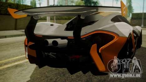 McLaren P1 GTR 2015 pour GTA San Andreas vue de côté