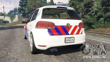 GTA 5 Volkswagen Golf Mk6 Dutch Police arrière vue latérale gauche