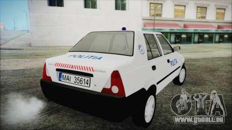 Dacia Solenza Politia pour GTA San Andreas laissé vue