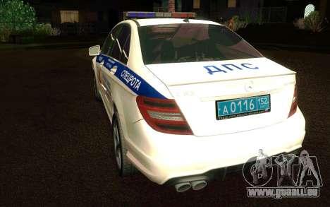 Mercedes-Benz C63 AMG ДПС pour GTA San Andreas vue de droite