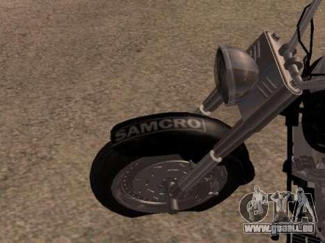 Harley Davidson Fat Boy Sons Of Anarchy pour GTA San Andreas vue arrière