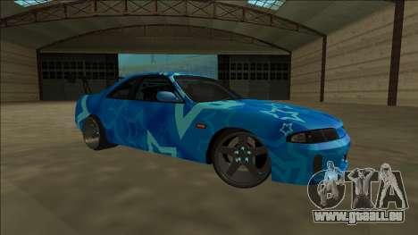 Nissan Skyline R33 Drift Blue Star pour GTA San Andreas vue intérieure