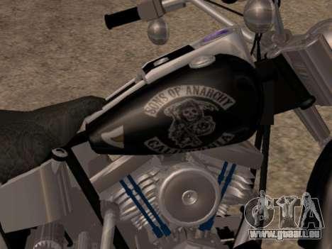 Harley Davidson Fat Boy Sons Of Anarchy pour GTA San Andreas sur la vue arrière gauche
