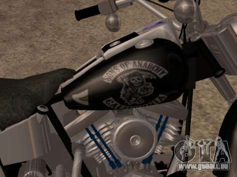 Harley Davidson Fat Boy Sons Of Anarchy für GTA San Andreas zurück linke Ansicht