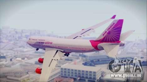 Boeing 747-437 Air India Tanjore Old Skin pour GTA San Andreas laissé vue