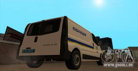 Opel Vivaro Polizei Der Ukraine für GTA San Andreas zurück linke Ansicht