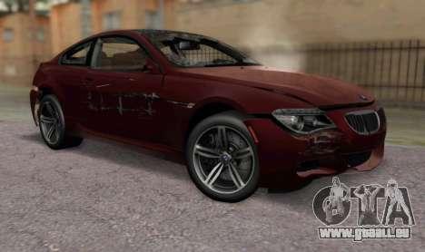 BMW M6 E63 pour GTA San Andreas vue arrière