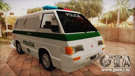 Mitsubishi L300 2008 Patrol Kolumbianischen Poli für GTA San Andreas zurück linke Ansicht
