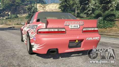 GTA 5 Nissan Silvia S13 v1.2 [with livery] arrière vue latérale gauche