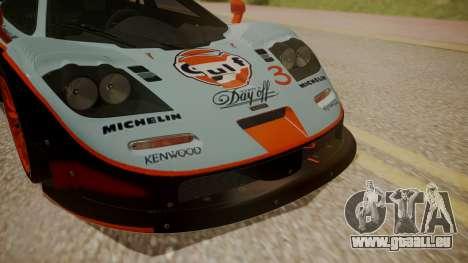 McLaren F1 GTR 1998 Gulf Team pour GTA San Andreas vue arrière
