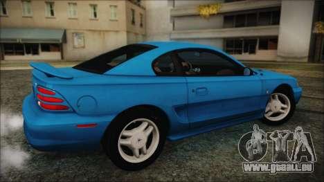 Ford Mustang GT 1993 v1.1 pour GTA San Andreas sur la vue arrière gauche