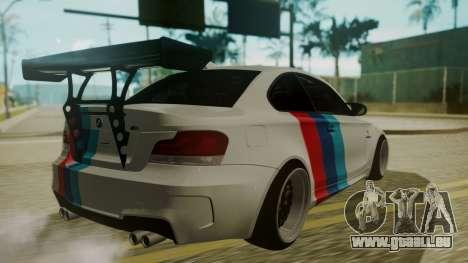 BMW 1M E82 without Sunroof pour GTA San Andreas vue de côté