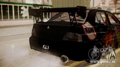 Mitsubishi Lancer Evolution Pushkar für GTA San Andreas Rückansicht